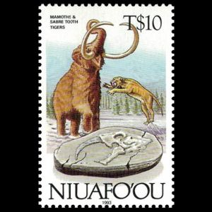 dinosaurs and prehistoric animals on stamps of Niuafoou 1993
