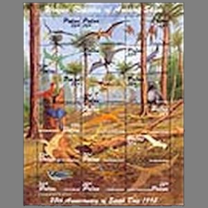 prehistoric animals, dinosaurs on stamps of Palau 1995