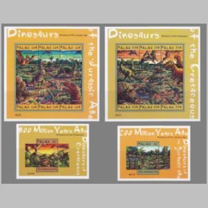 prehistoric animals, dinosaurs on stamps of Palau 2000