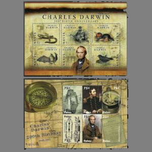 Charle Darwin on stamps of Paraguay from 2009