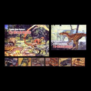 Dinosaurs on stamps of Papua  new Guinea 2004