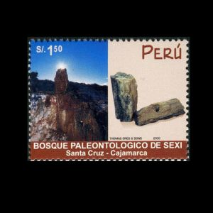 Petrified wood in nature reserve 'Bosque de Sexi' on Palaeontology stamp of Peru from 2000