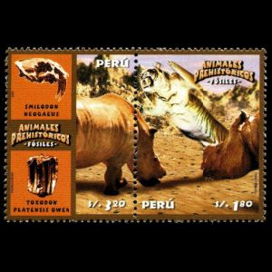 Prehistoric animals on stamps of Peru 2004