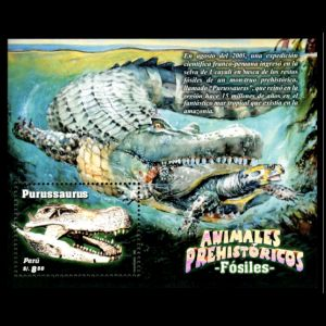 Prehistoric Animal: fossil and reconstruction of Purussaurus on stamps of Peru 2007