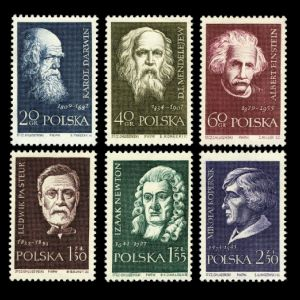Charles Darwin and other famous scientists on stamps of Poland 1959