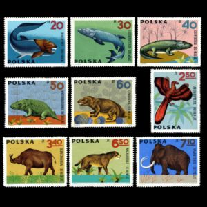 Prehistoric animals on stamp of Poland 1966