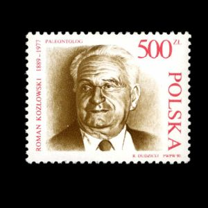 paleontologist Roman Kozlowski on stamps of Poland 1990
