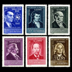 Charles Darwin among other famous personalities on stamp of Romani 1959