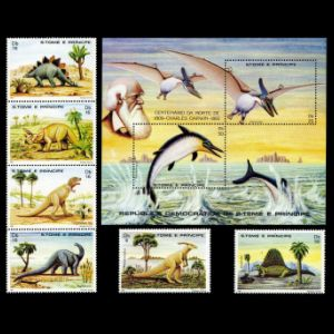 dinosaurs and other prehistoric animals on stamps of Sao Tome 1982
