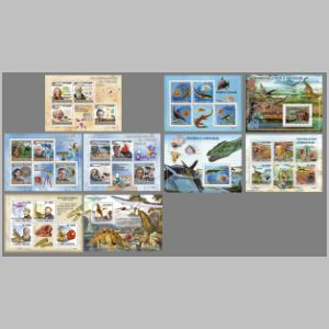 dinosaurs and another prehistoric animals on stamps of Sao Tome