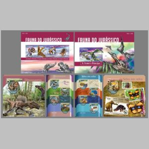 Jurassic fauna on stamps of sao Tomme e Principie 2015