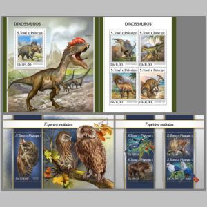 Dinosaurs and other prehistoric animals on stamps of Sao Tome and Principe 2018