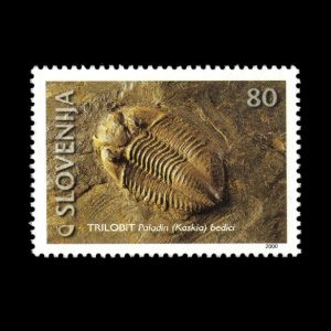 Trilobite on fossil stamp of Slovenia 2000, Click for details
