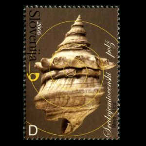 Snail on fossil stamp of Slovenia 2006, Click for details