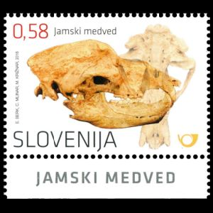 Cave Bear fossil on stamp of Slovenia 2016, Click for details