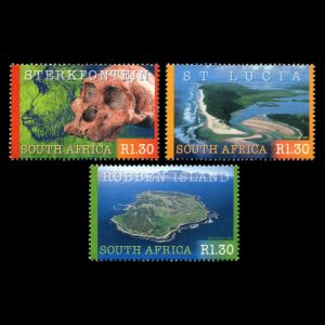 early human, fossil skull and reconstruction of Australopithecus, on stamps of South Africa 2000