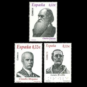 Charles Darwin among other popular characters on stamp of Spain 2009