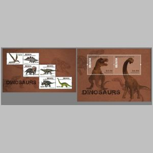 Dinosaurs on stamps of Bequia island and the Grenadines 2012