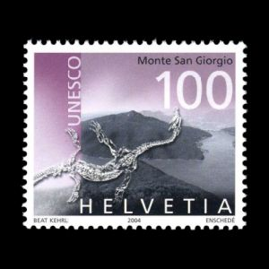 Marine reptile Neusticosaurus pusillus fossil of Unesco World Heritage Monte San Giorgio on stamps of Switzerland 2004