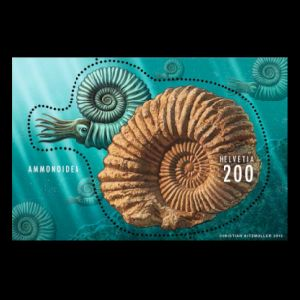 Ammonite on stamp of Switzerland 2015