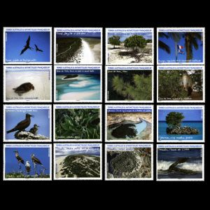 fossils, animals, landscapes on stamps of TAAF 2009