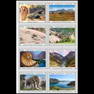 Dinosaurs and other prehistoric animals on stamps of Tajikistan 2020