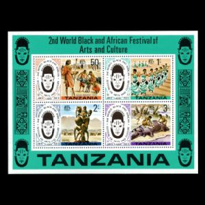 Hippopotamus and prehistoric humans on stamps of Tanzania 1965