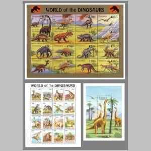 prehistoric animals and dinosaurs on stamps of Tanzania 1994