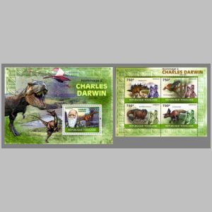 Charle Darwin and some Dinosaurs on stamps of Togo from 2010