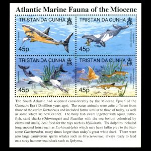 Atlantic marine fauna of the Miocene on stamps of Tristan da Cunha 1998