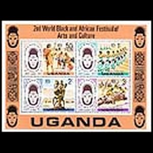 Prehistoric animals and prehistoric human on stamps of Uganda 1977