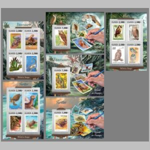 dinosaurs and other prehistoric animals stamps of Uganda 2013
