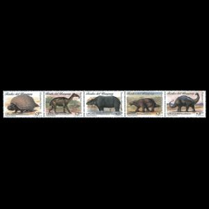 prehistoric animals on stamps of Uruguay 1986