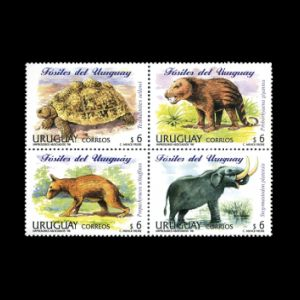 Prehistoric animals on stamps of Uruguay 1998