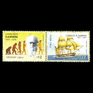 Charles darwin on stamps of Uruguay from 2009