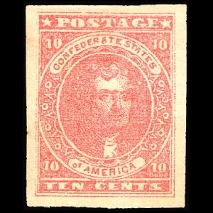 Thomas Jefferson on Confiderates States stamps from 1861-1862