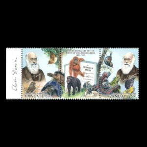 Charles darwin on stamps of Vanuatu from 2009