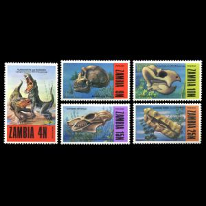 fossils dinosaurs Prehistoric Animals on stamps of Zambia 1973
