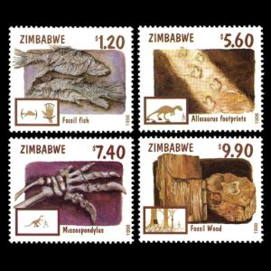 Fossils of dinosaurs, prehistoric animals and early human on stamps of Zambia 1973