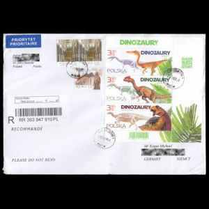 Dinosaur stamps Poland 2020 on circulated cover