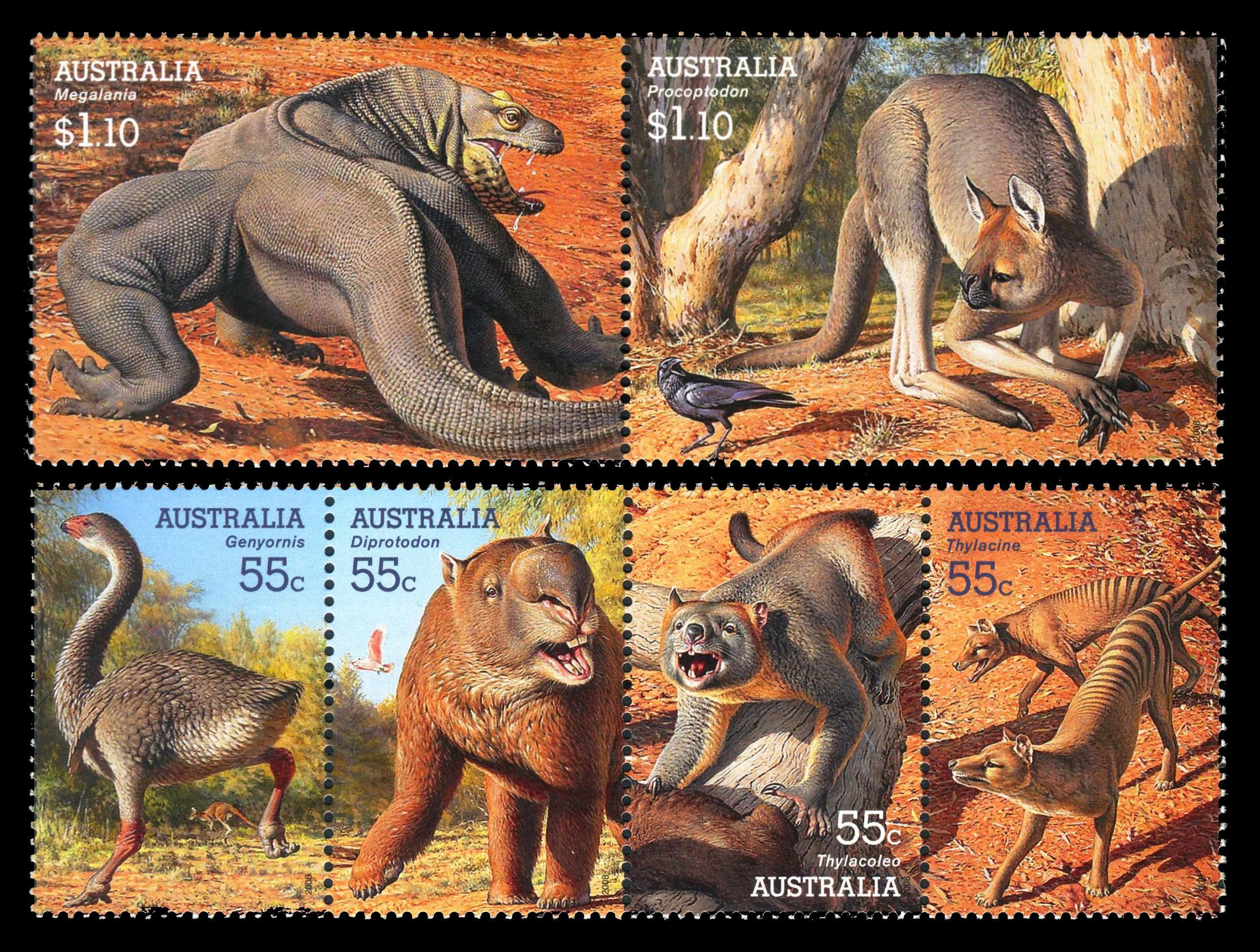 Paleophilatelie Eu Australia 2008 Megafauna Stamps