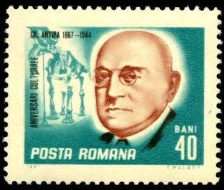 Grigores Antipa and fossil of Dinotherium giganteum on stamp of Romania 1967