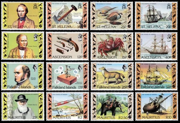 Charles Darwin on stamps of Ascension, Falkland, Mauritius and St. Helena island countries