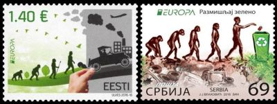 Human evolution on Europa think green stamps of Serbia and Estonia