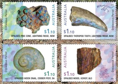 Preview of Opalized Fossils stamps of Australia 2020