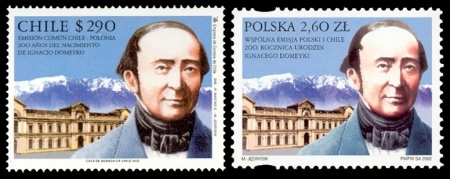 Ignacy Domeyko on stamps of Chile and Poland 2002