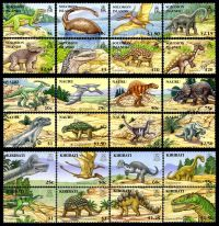 Dinosaurs and other prehistoric animals on stamps of Kiribati Nauru and Solomon Islads 2006