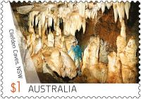 Fossil found place, Cliefden cave on stamp of Australia 2017