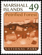 Petrified wood on stamp of Marshall Islands 2017