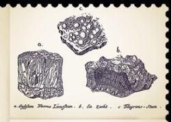 Stones and minerals on illustation of Reise igiennem Island (1772; Travels in Iceland) book) of Eggert Olafsson and Bjarni Pálsson
